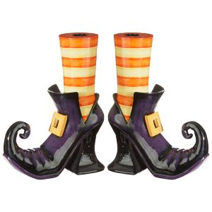 Raz Imports Witch Shoes Taper Candle Holders